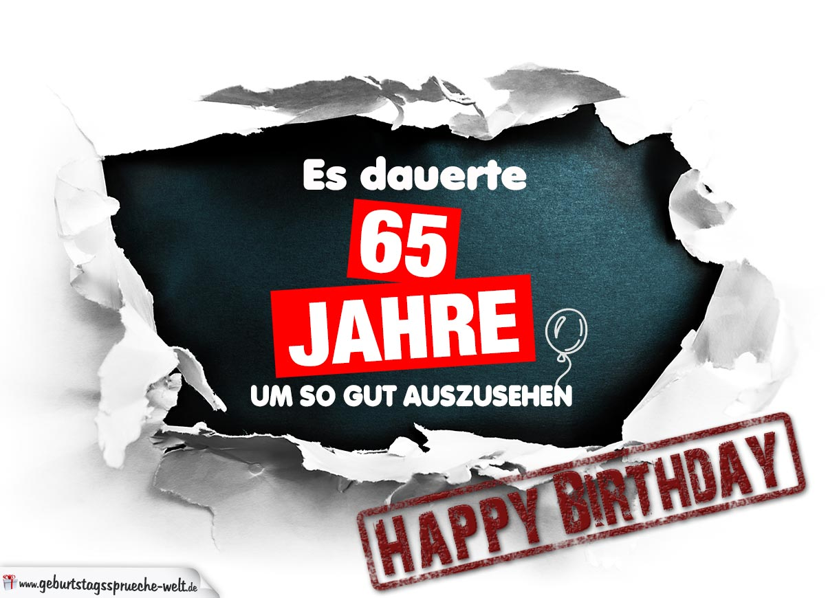 65. Geburtstag Lustige Geburtstagskarte kostenlos