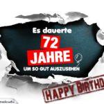 72. Geburtstag Lustige Geburtstagskarte kostenlos