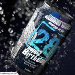 Coole Geburtstagskarte - Energy-Drink Getränkedose 28 Happy Birthday