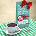 Geburtstagskarte zum 74. Geburtstag kostenlos mit Tee Happy Birthday