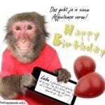 Geburtstagskarte mit Affen und einem schönen nachdenklichen Spruch fürs Leben