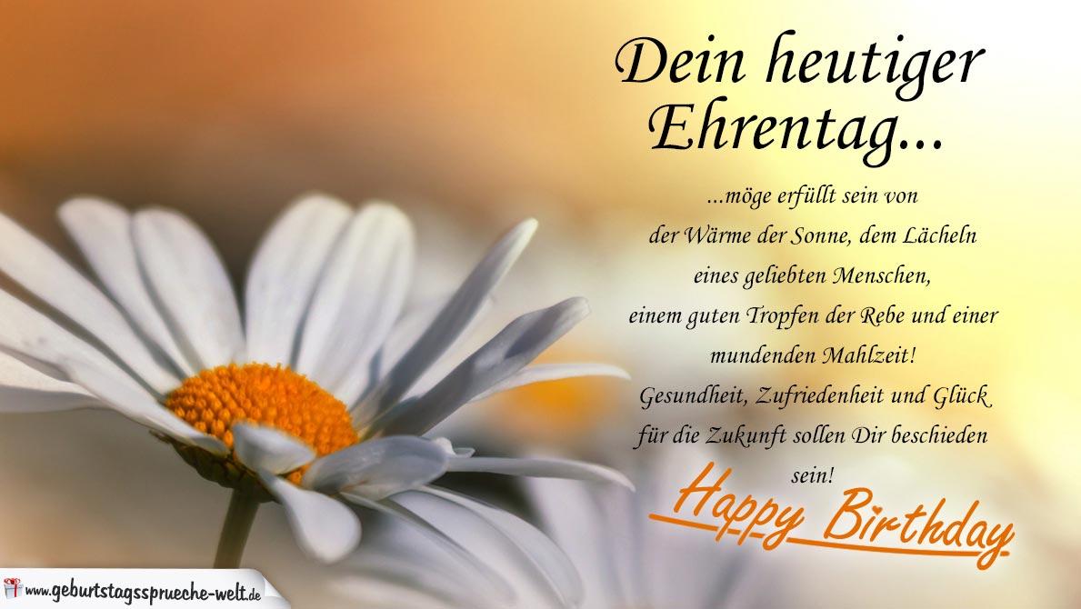 Dein heutiger Ehrentag - Liebe Wünsche zum Geburtstag mit Gänseblümchen