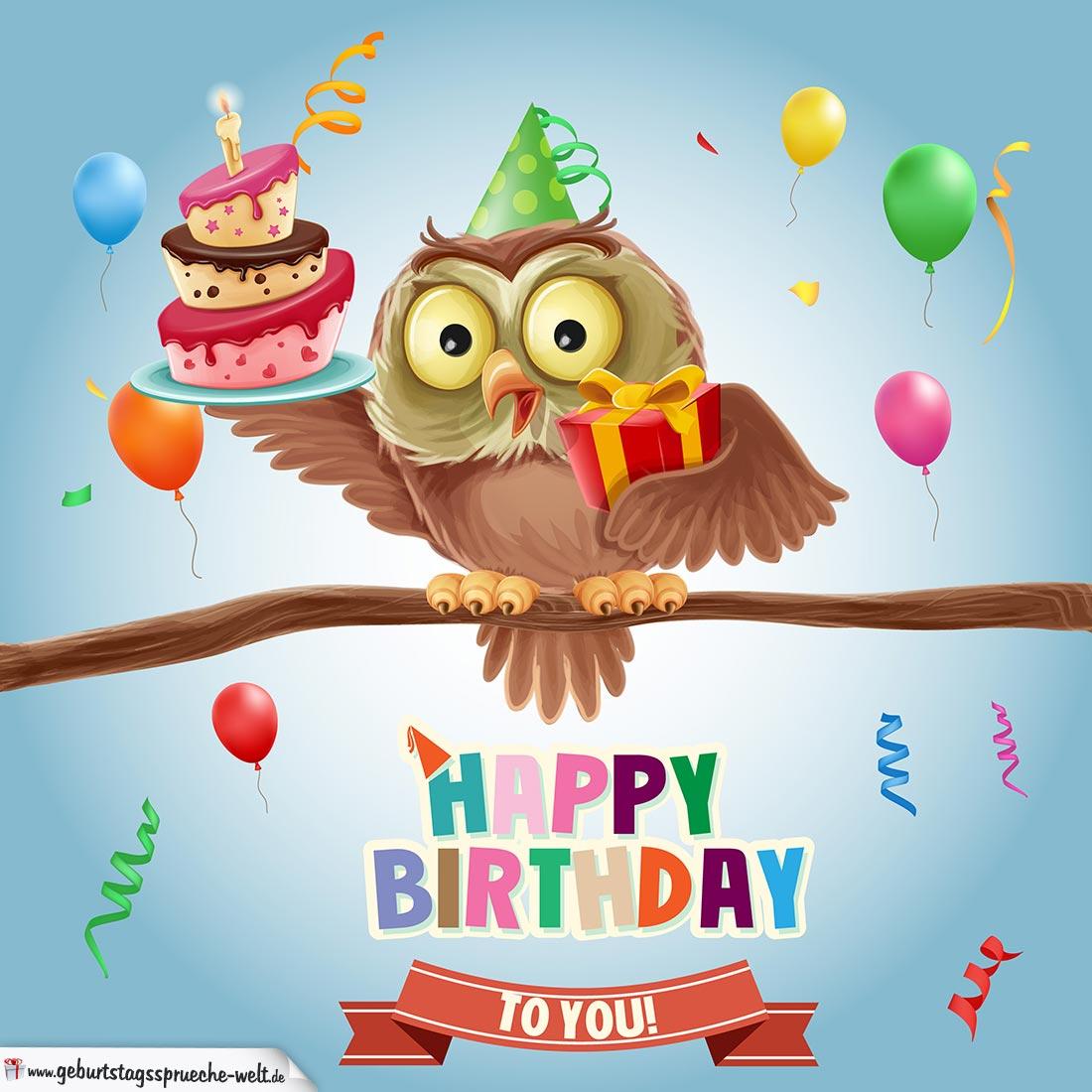 Kostenlose Happy Birthday Karte mit Eule für Kinder