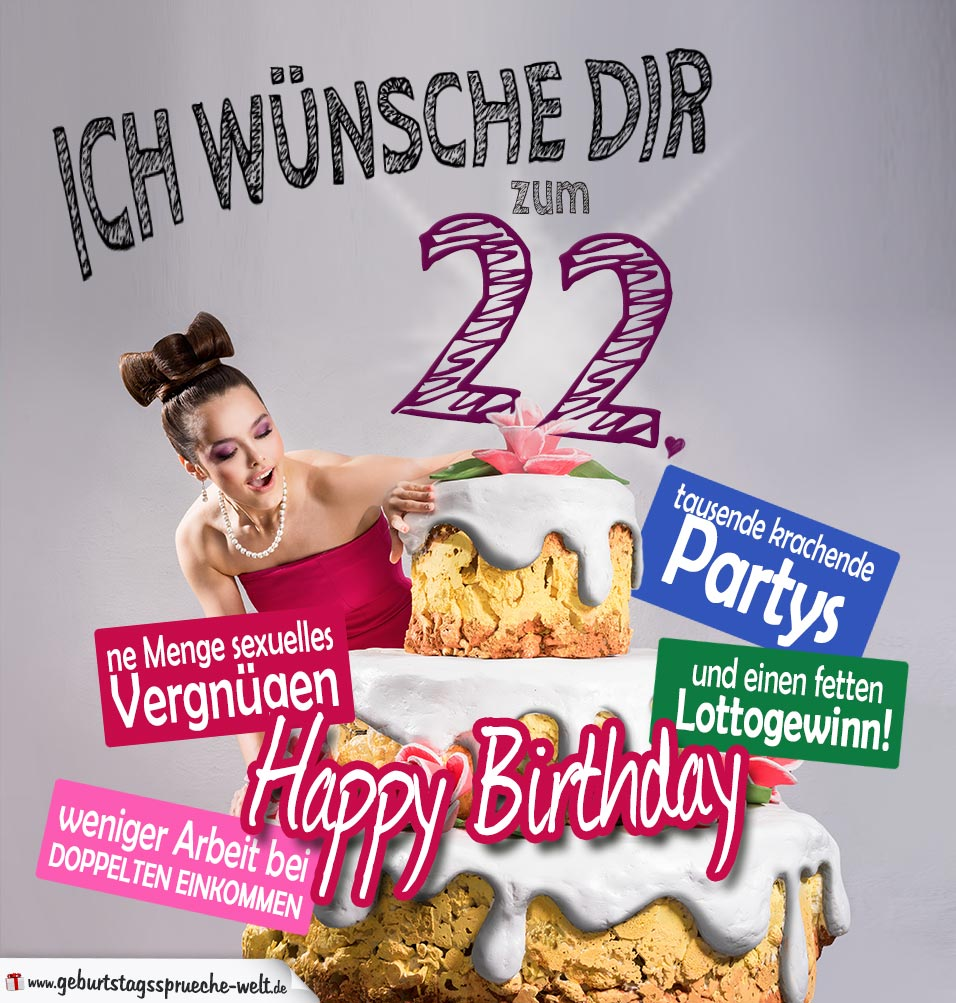 22 geburtstag sprüche Glückwünsche Geburtstagskarte 22. Geburtstag mit Torte  22 geburtstag sprüche