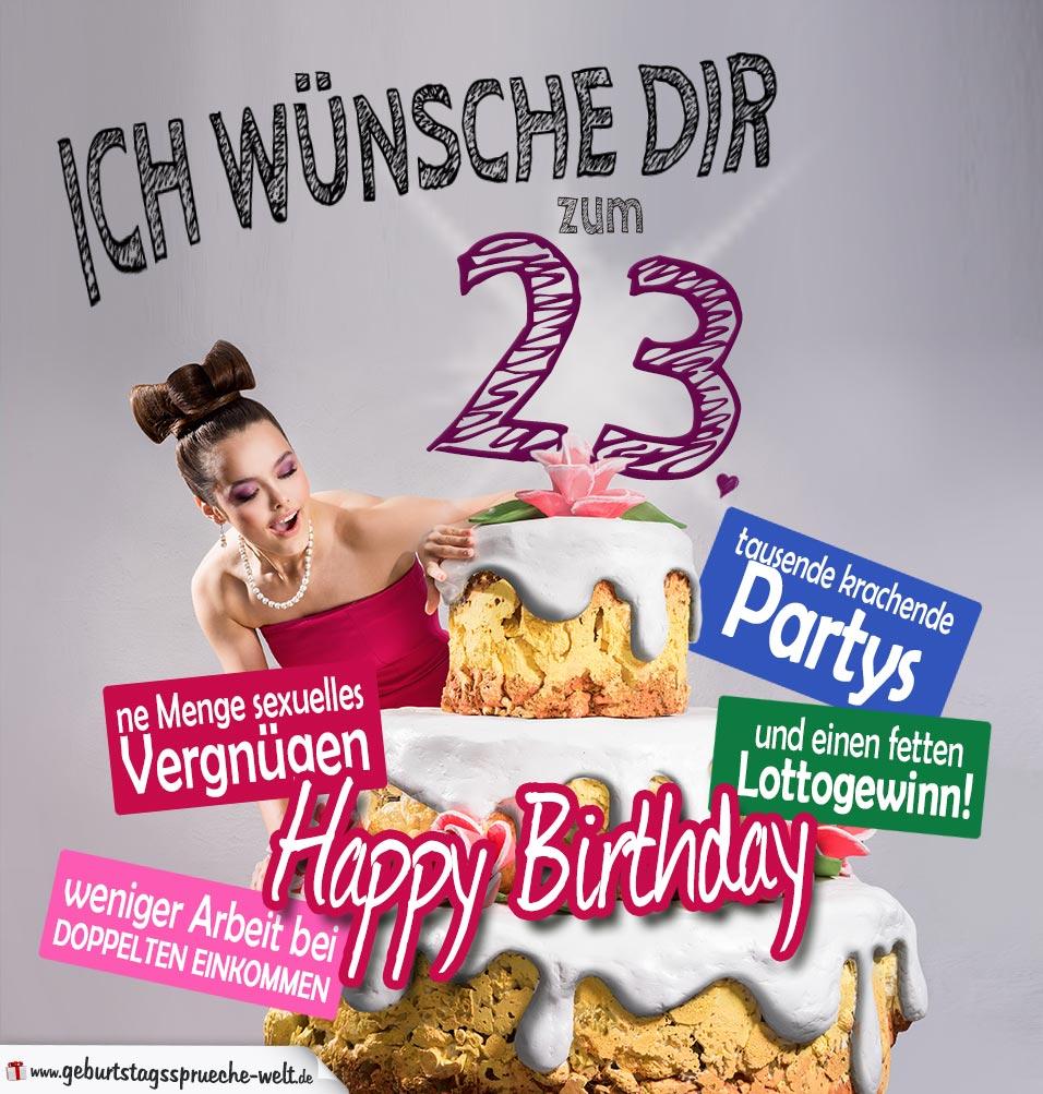 Glückwünsche Geburtstagskarte 23. Geburtstag mit Torte