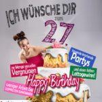 Glückwünsche Geburtstagskarte 27. Geburtstag mit Torte