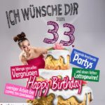 Glückwünsche Geburtstagskarte 33. Geburtstag mit Torte