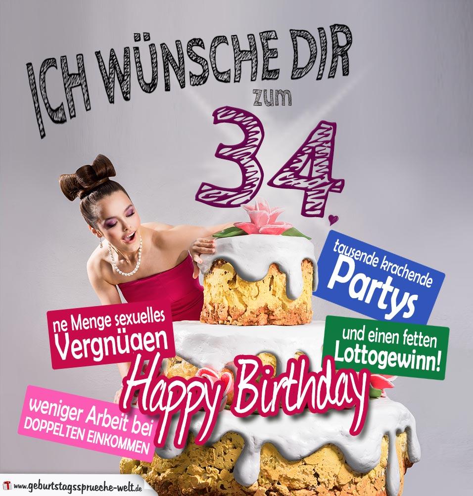 Glückwünsche Geburtstagskarte 34. Geburtstag mit Torte