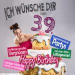 Glückwünsche Geburtstagskarte 39. Geburtstag mit Torte