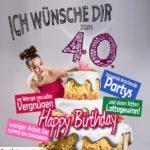 Glückwünsche Geburtstagskarte 40. Geburtstag mit Torte