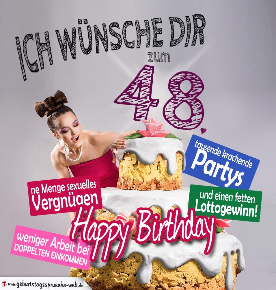 Glückwünsche Geburtstagskarte 48. Geburtstag mit Torte