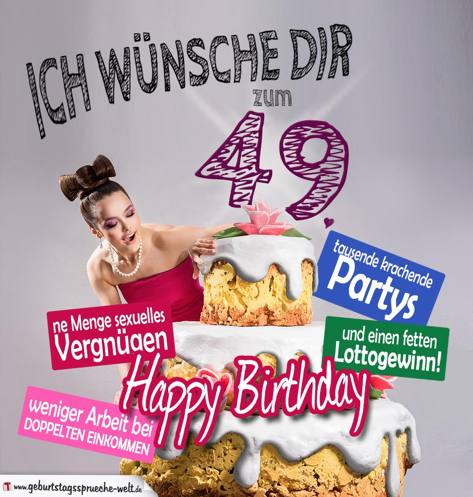 Glückwünsche Geburtstagskarte 49. Geburtstag mit Torte