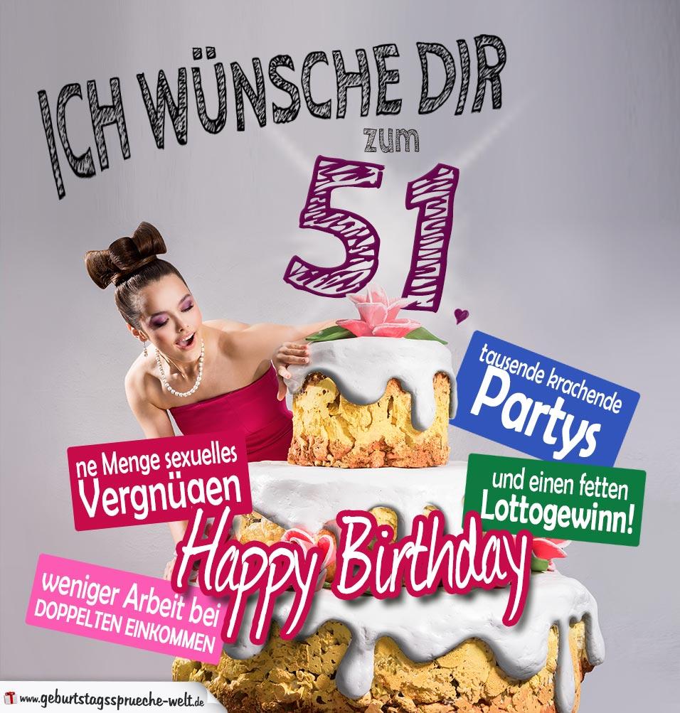 Glückwünsche Geburtstagskarte 51. Geburtstag mit Torte
