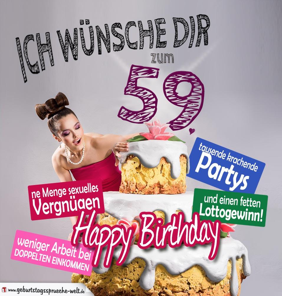 Glückwünsche Geburtstagskarte 59. Geburtstag mit Torte