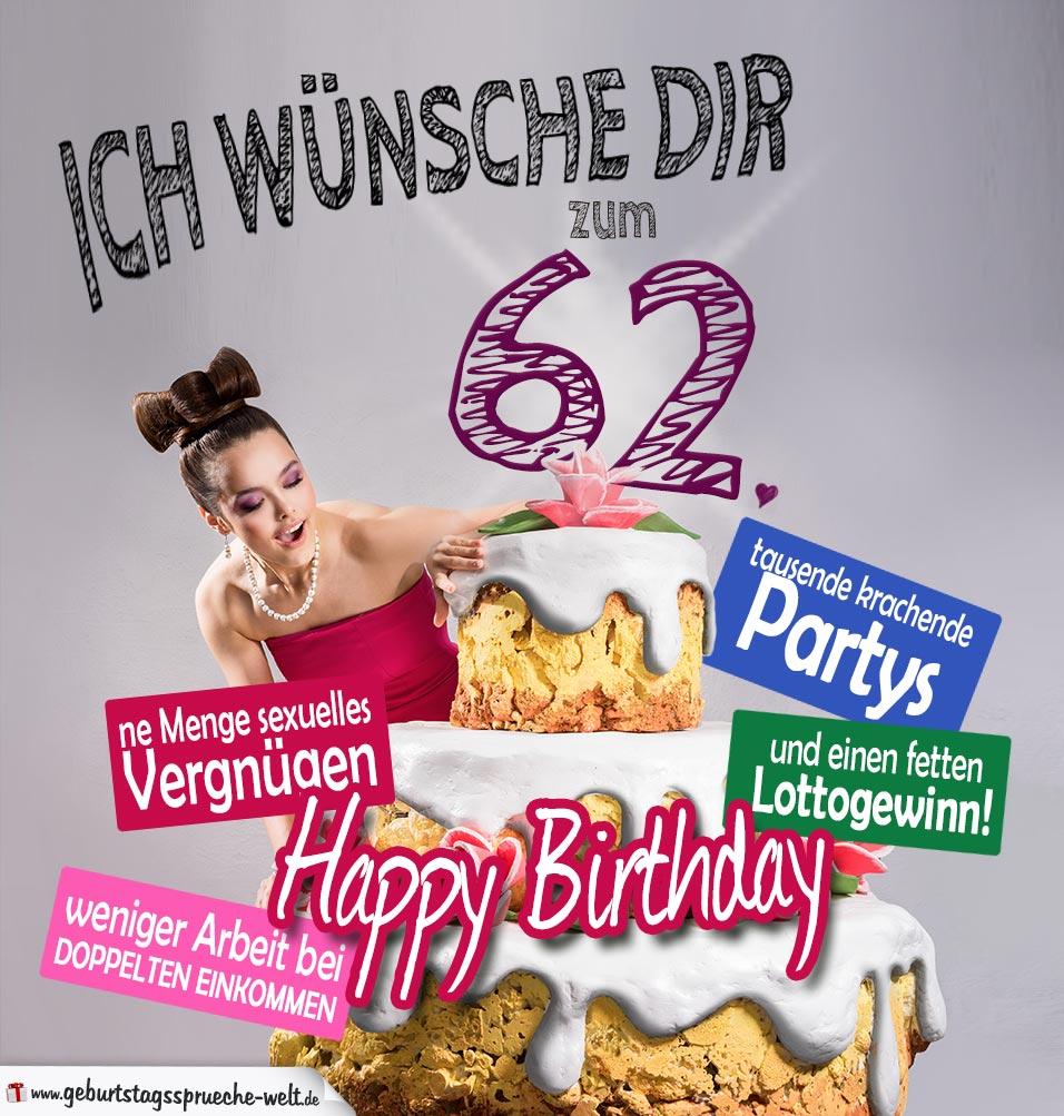 Glückwünsche Geburtstagskarte 62. Geburtstag mit Torte