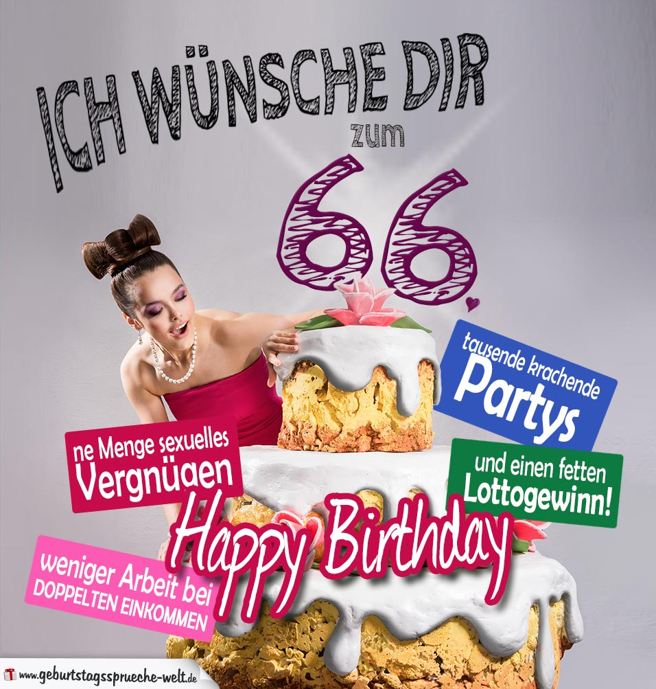 Glückwünsche Geburtstagskarte 66. Geburtstag mit Torte