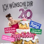 Glückwünsche Geburtstagskarte 20. Geburtstag mit Torte