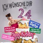 Glückwünsche Geburtstagskarte 24. Geburtstag mit Torte