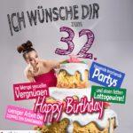Glückwünsche Geburtstagskarte 32. Geburtstag mit Torte