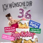 Glückwünsche Geburtstagskarte 36. Geburtstag mit Torte