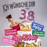 Glückwünsche Geburtstagskarte 38. Geburtstag mit Torte