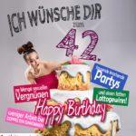 Glückwünsche Geburtstagskarte 42. Geburtstag mit Torte