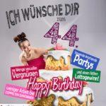 Glückwünsche Geburtstagskarte 44. Geburtstag mit Torte