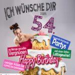 Glückwünsche Geburtstagskarte 54. Geburtstag mit Torte