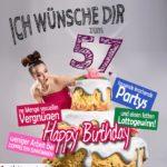 Glückwünsche Geburtstagskarte 57. Geburtstag mit Torte