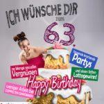 Glückwünsche Geburtstagskarte 63. Geburtstag mit Torte