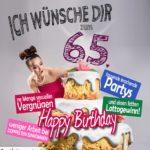 Glückwünsche Geburtstagskarte 65. Geburtstag mit Torte