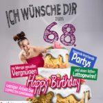 Glückwünsche Geburtstagskarte 68. Geburtstag mit Torte