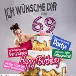 Glückwünsche Geburtstagskarte 69. Geburtstag mit Torte