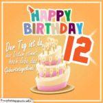 12. Geburtstag Geburtstagssprüche Happy Birthday Geburtstagskind