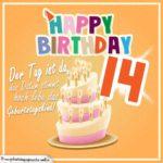 14. Geburtstag Geburtstagssprüche Happy Birthday Geburtstagskind