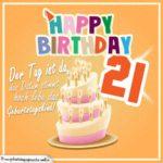 21. Geburtstag Geburtstagssprüche Happy Birthday Geburtstagskind