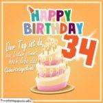 34. Geburtstag Geburtstagssprüche Happy Birthday Geburtstagskind