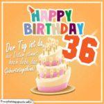 36. Geburtstag Geburtstagssprüche Happy Birthday Geburtstagskind