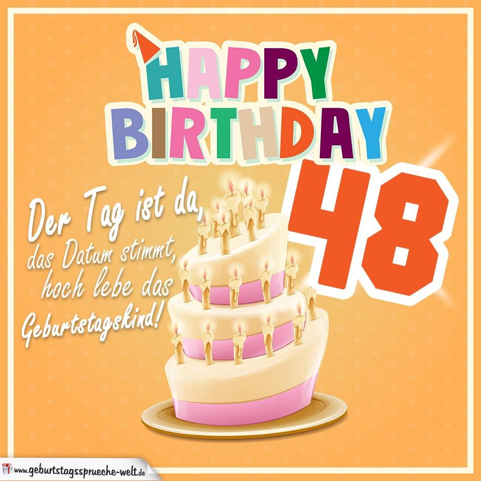 48. Geburtstag Geburtstagssprüche Happy Birthday Geburtstagskind