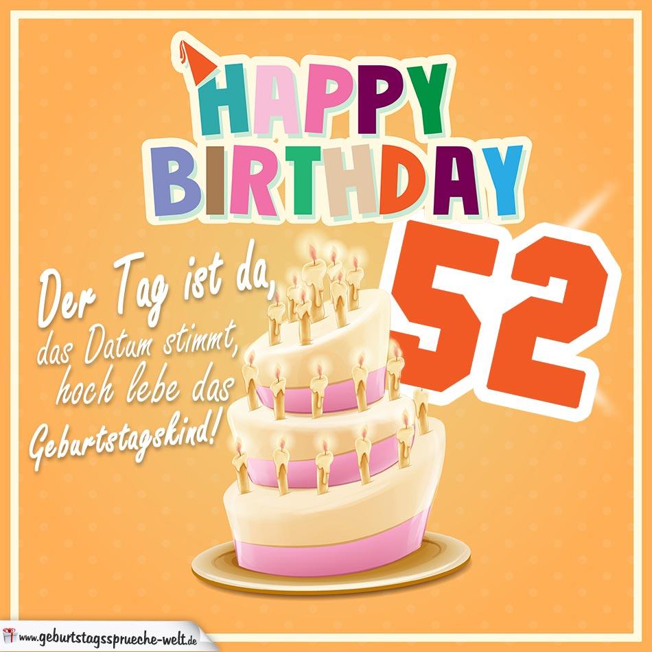 52. Geburtstag Geburtstagssprüche Happy Birthday Geburtstagskind