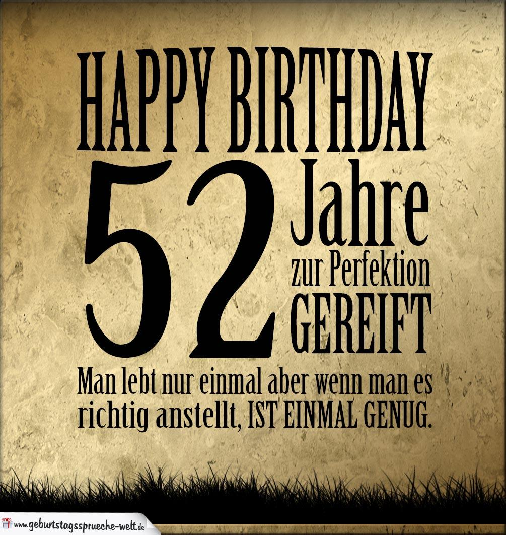 52 Geburtstag Retro Geburtstagskarte Geburtstagssprüche Welt