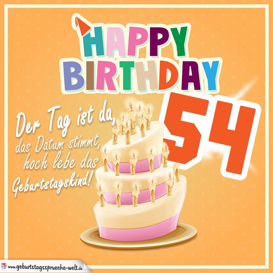 54. Geburtstag Geburtstagssprüche Happy Birthday Geburtstagskind