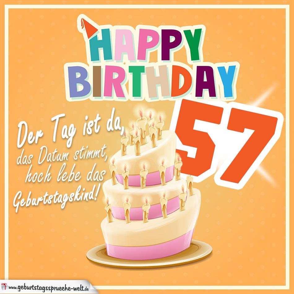 57. Geburtstag Geburtstagssprüche Happy Birthday Geburtstagskind