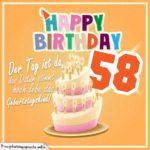 58. Geburtstag Geburtstagssprüche Happy Birthday Geburtstagskind