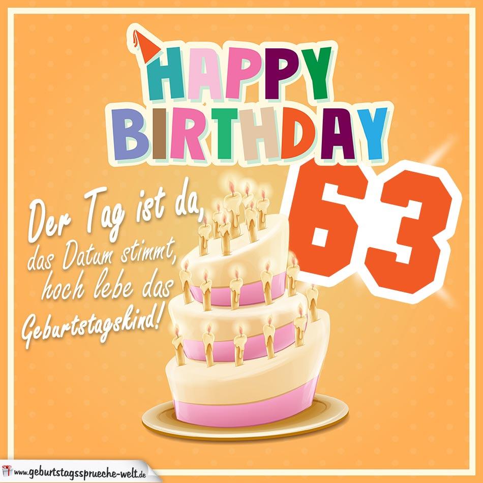 63. Geburtstag Geburtstagssprüche Happy Birthday Geburtstagskind