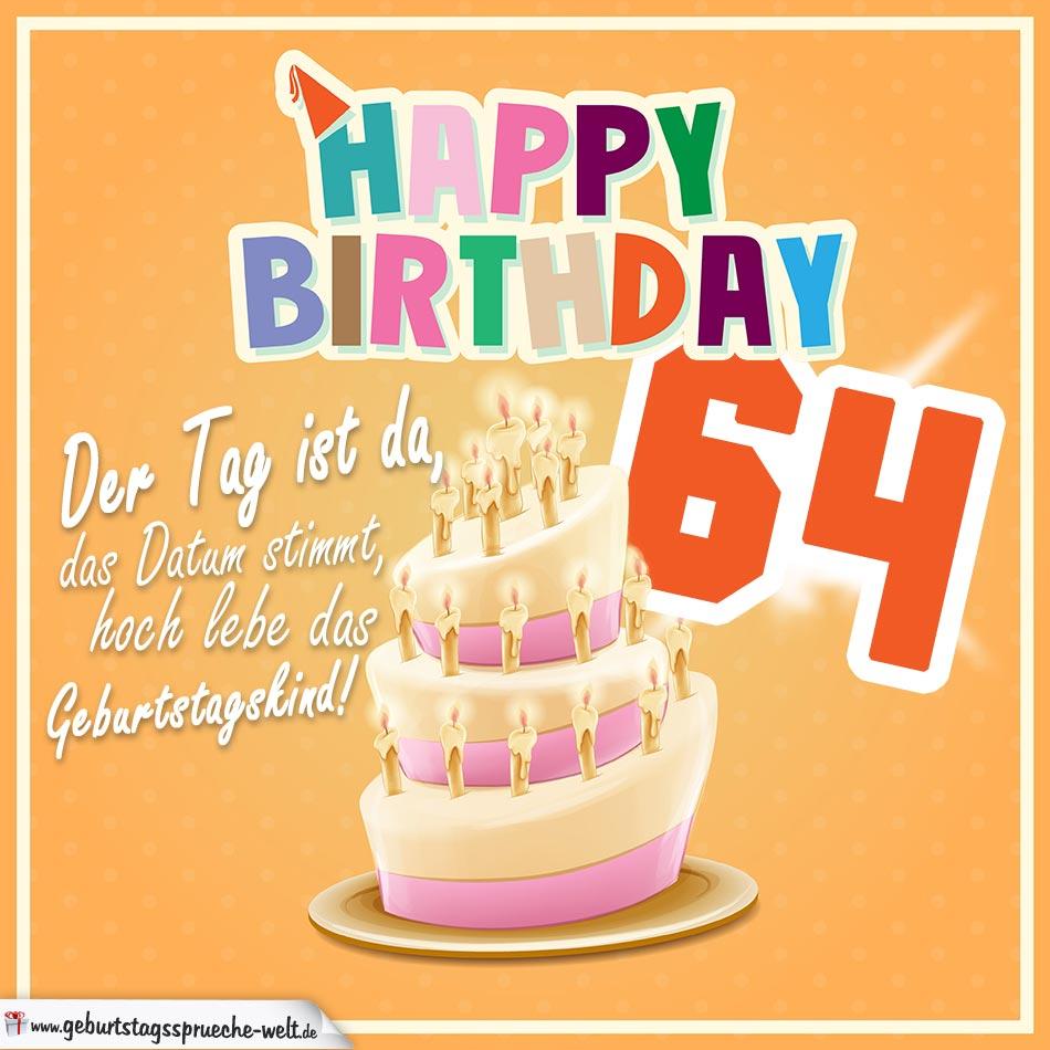 64. Geburtstag Geburtstagssprüche Happy Birthday Geburtstagskind