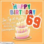 69. Geburtstag Geburtstagssprüche Happy Birthday Geburtstagskind