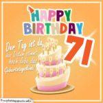 71. Geburtstag Geburtstagssprüche Happy Birthday Geburtstagskind