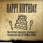 Retro Geburtstagskarte Happy Birthday auf Gold-Grunge Hintergrund