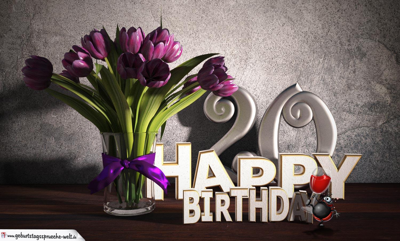 Geburtstagsgruß 20 Happy Birthday mit Tulpenstrauß